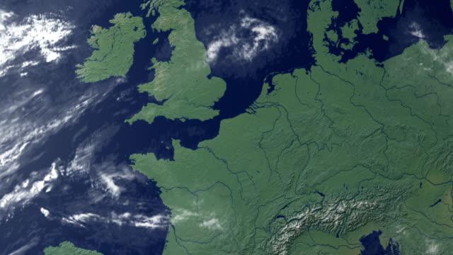vidéos et rushes de belgique touches après zoom de la terre (avec alpha-mat) - carte france