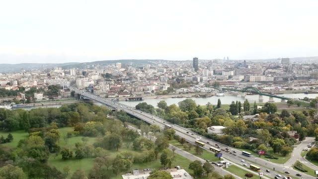 belgrade skyline , old and new part of city - белград стоковые видео и кадры b-roll
