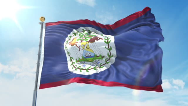 Belize flag waving in the wind against deep blue sky. National theme, international concept. 3D Render Seamless Loop 4K Belize flag waving in the wind against deep blue sky. National theme, international concept. 3D Render Seamless Loop 4K allegory painting stock videos & royalty-free footage