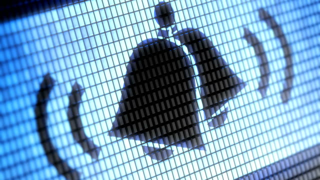 glocken-symbol auf dem bildschirm. 4k auflösung. looping. - wachsamkeit stock-videos und b-roll-filmmaterial