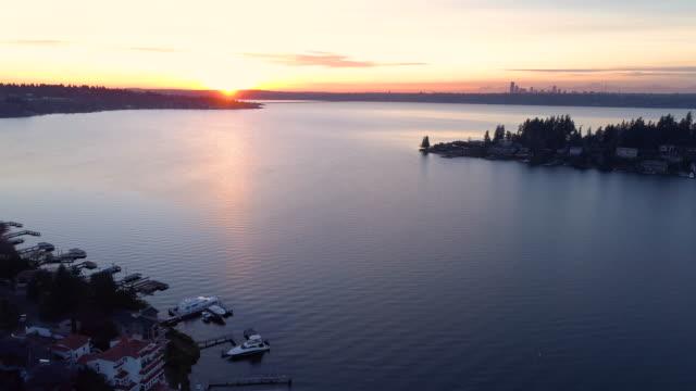 Bellevue Mercer Island Seattle Lake Washington Birds Eye Aerial Overview video