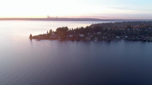 Bellevue Seattle Aerial View Lake Washington Landscape Skyline video