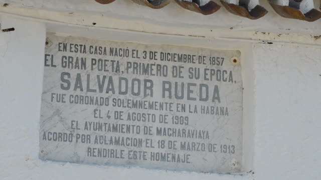 Benaque, commemorative plaque in the native house of the poet Salvador Rueda video