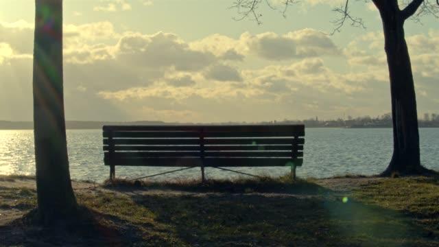 Bench at lake Bench at lake park bench stock videos & royalty-free footage
