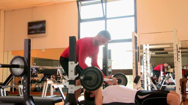 Bench press at gym video