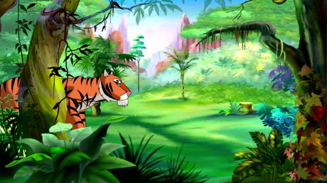 bengal tiger walks through the jungle - film animowany filmów i materiałów b-roll