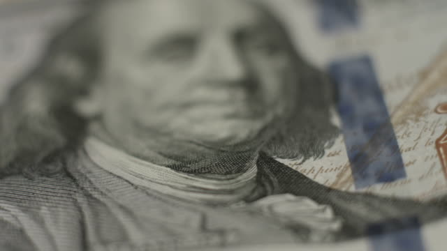Benjamin Franklin, one hundred dollar note closeup, money, bank video