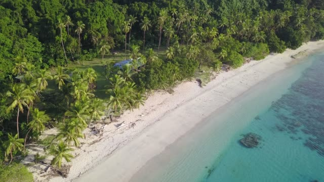 Beqa Island, Fiji Aerial view of sand, beach, coral reef, forest, and local village on a remote island of Fiji pacific islands stock videos & royalty-free footage