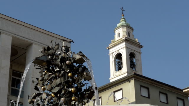 Bergamo Italy bells ringing in Piazza della Liberta