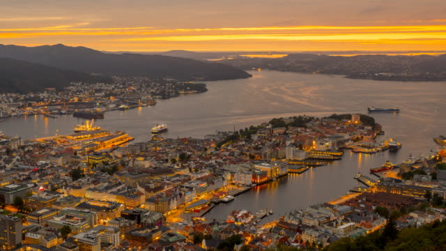 Bergen City at dusk video