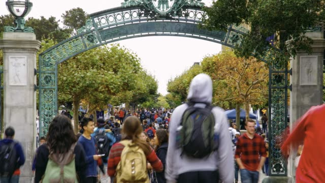 UC Berkeley campus Students crossing the Sather Gate ,campus of UC Berkeley. students stock videos & royalty-free footage