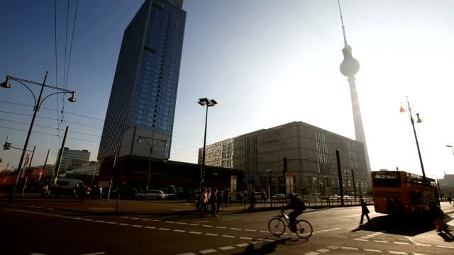 Berlin Alexanderplatz with sunlight video