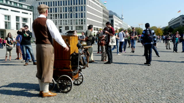 Berlin Barrel Organ Player Performing (4K/UHD to HD) video