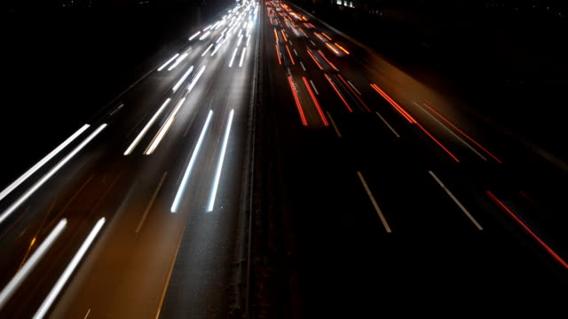 Berlin city autobahn time lapse Video shows the Berlin City Autobahn in rush hour at night in 2 different views autobahn stock videos & royalty-free footage