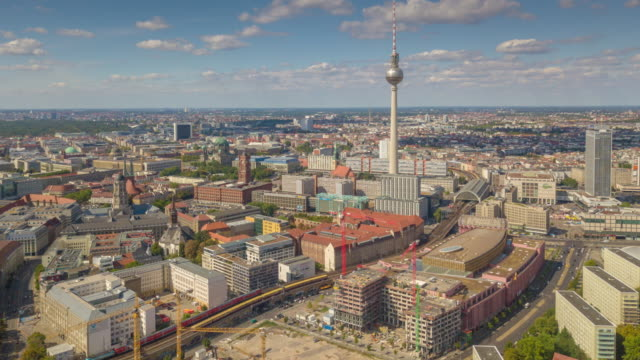 berlin city center sunny day train station tv tower aerial panorama 4k timelapse germany