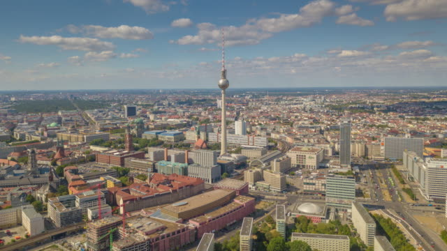 berlin city center sunny day tv tower traffic streets aerial panorama 4k timelapse germany