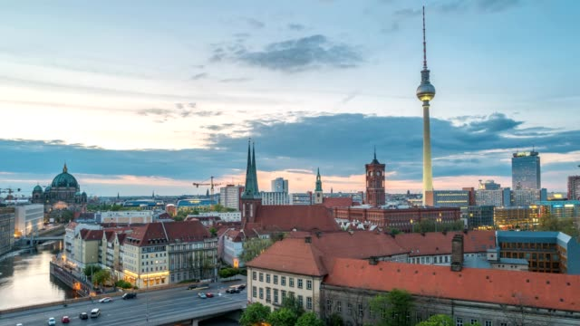 Berlin city skyline day to night timelapse with Berlin TV Tower and Spree River, Berlin, Germany 4K Time lapse video
