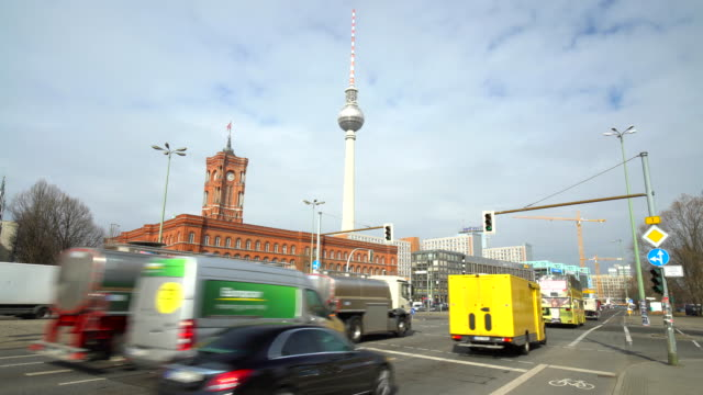 Berlin Rotes Rathaus with traffic video
