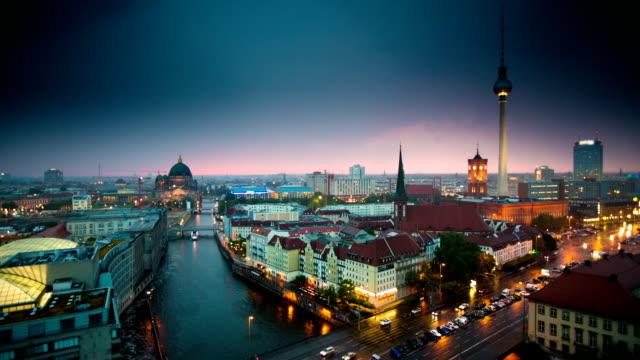 Berlin Skyline Upper Deck view on Berlin Skyline at Dusk - Real Time  european culture stock videos & royalty-free footage