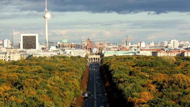 Berlin Skyline with sun, time lapse video
