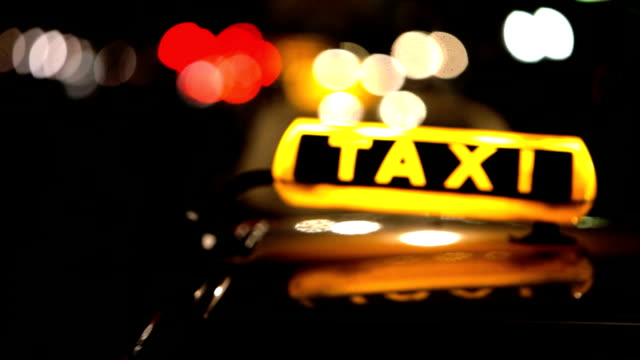 Berlin Taxi (Cab) driving with motion blur and city lights video