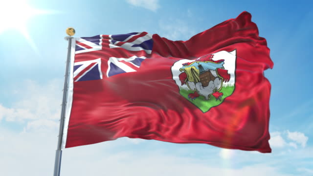 Bermuda flag waving in the wind against deep blue sky. National theme, international concept. 3D Render Seamless Loop 4K Bermuda flag waving in the wind against deep blue sky. National theme, international concept. 3D Render Seamless Loop 4K allegory painting stock videos & royalty-free footage