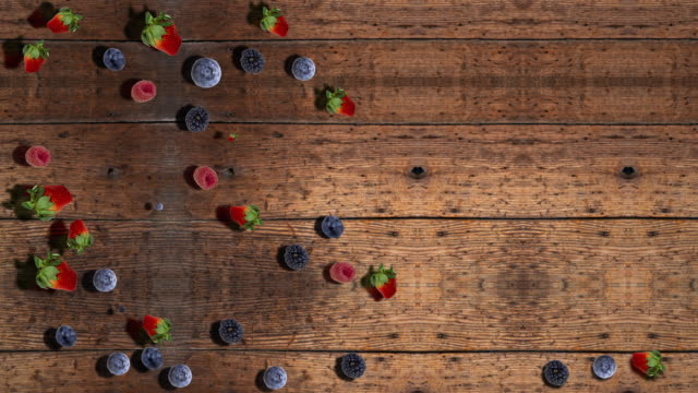 Berries on Wooden Table with copy space