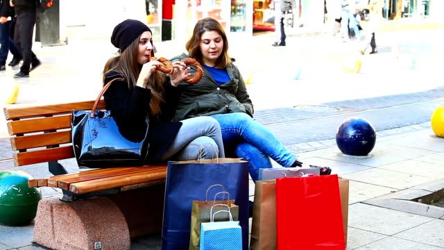 HD: Best Friends Resting After Shopping video
