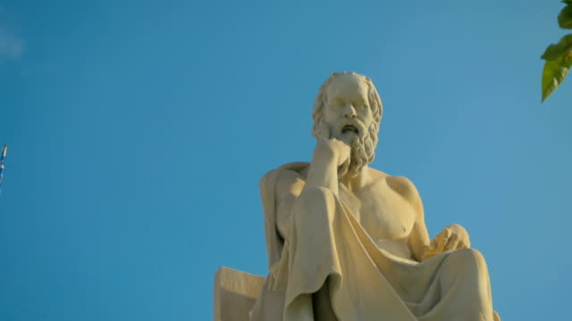 Best of ancient philosophers Socrates reflects on the meaning of life, on the background of Greek flag. Best of ancient philosophers Socrates reflects on the meaning of life, on the background of Greek flag. statue stock videos & royalty-free footage
