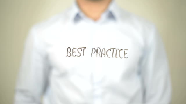 Best Practice, Man writing on transparent screen video