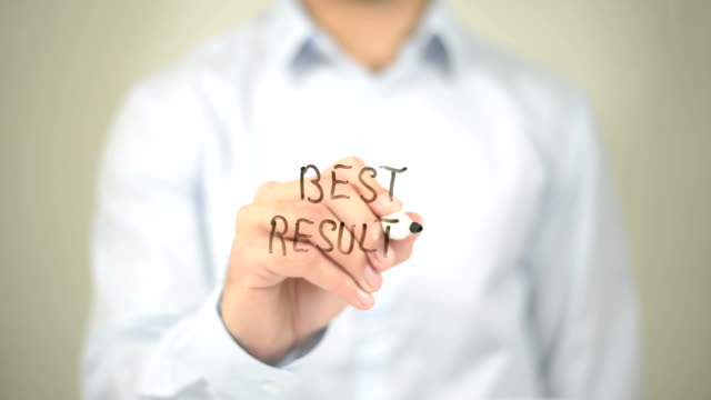 Best Results, Man writing on transparent screen video