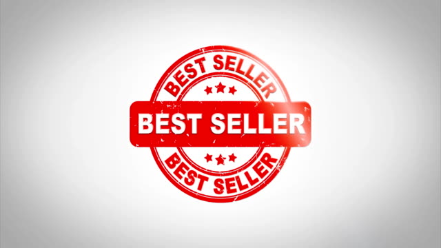 최고의 판매자 서명 스탬프 텍스트 나무 스탬프 애니메이션입니다. 포함 하는 녹색 매트 배경와 깨끗 한 흰 종이 표면 배경에 빨강 잉크. - stamp 스톡 비디오 및 b-롤 화면