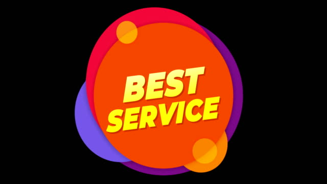 Best Service Text Sticker Colorful Sale Popup Animation.