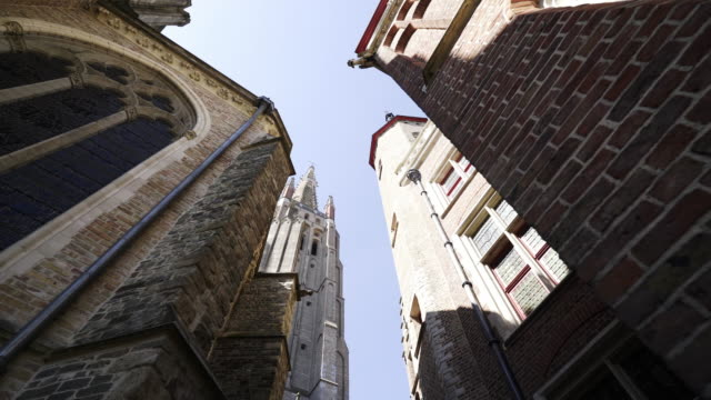 between medieval buildings - bruges video stock e b–roll