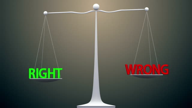 between Right and Wrong Right and Wrong balancing against each other, conflict between what is right and what is wrong morality stock videos & royalty-free footage