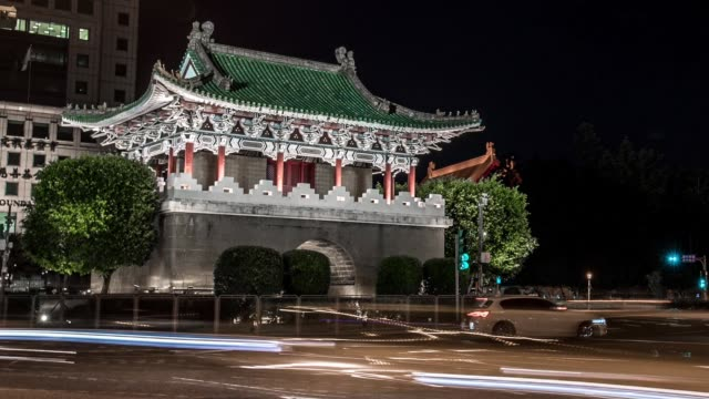 Beutiful Hyperlapse of street with East Gate of Taipei in Taiwan at night