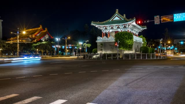 4K Beutiful Timelapsed street with East Gate of Taipei in Taiwan at night
