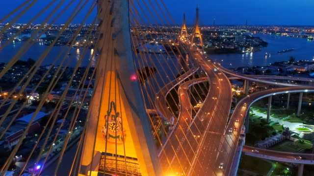 Bhumibol bridge so called Industrial Ring Bridge crossing The Chao Phraya River twice. Twilight, Sunset Scene at New landmark of Bangkok Thailand. video