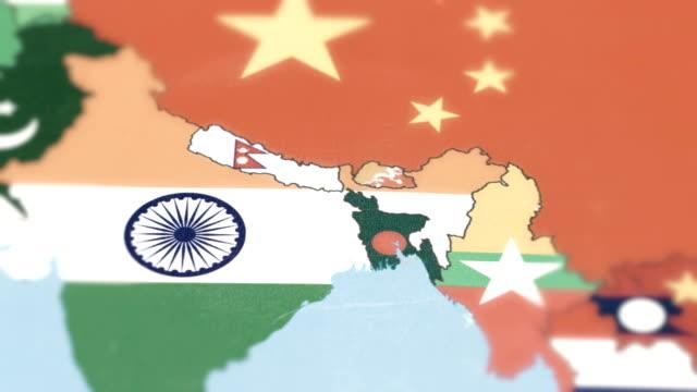 Bhutan, Nepal, Bangladesh with National Flag on World Map tracking to Bhutan, Nepal, Bangladesh with National Flag on World Map china east asia stock videos & royalty-free footage