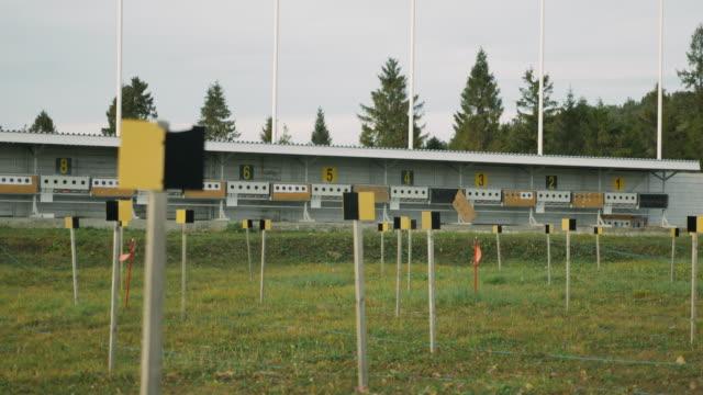 Biathlon. Empty shooting targets at biathlon stadium. Shooting range. Winter sports concept.
