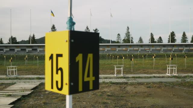 Biathlon. Target sports shooting. Empty shooting range at biathlon. Shooting biathlon target.