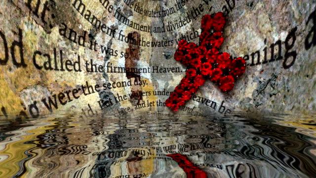 stockvideo's en b-roll-footage met bijbeltekst en rood kruis reflecterend in water - heilig geschrift