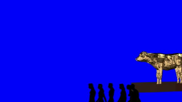 Biblical Israelite Carrying the Golden Calf Blue Screen