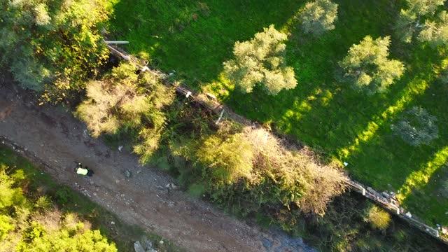 bicicletta in movimento sulla vista dall'alto della strada di montagna - percorso per bicicletta video stock e b–roll