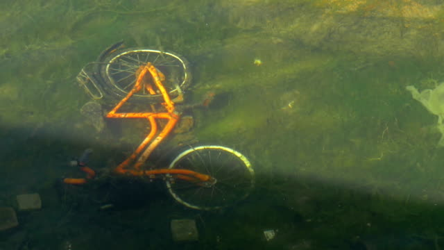 Bicycle on the bottom of dirty pond video