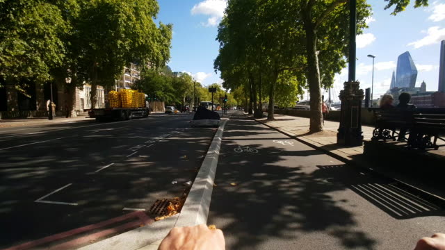 Bicycle Ride on London Cycle Superhighway 3 At Victoria Embankment