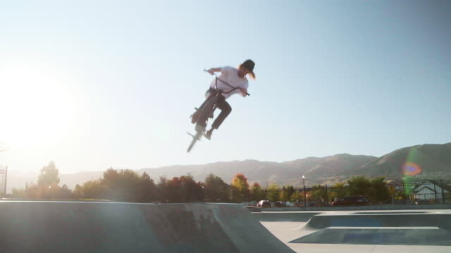 BMX Bicycle Rider in a Skate Park - video