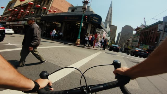 POV bicycle riding: commuter with road racing bike in San Francisco POV bicycle riding: commuter with road racing bike in San Francisco, Financial District action movie stock videos & royalty-free footage
