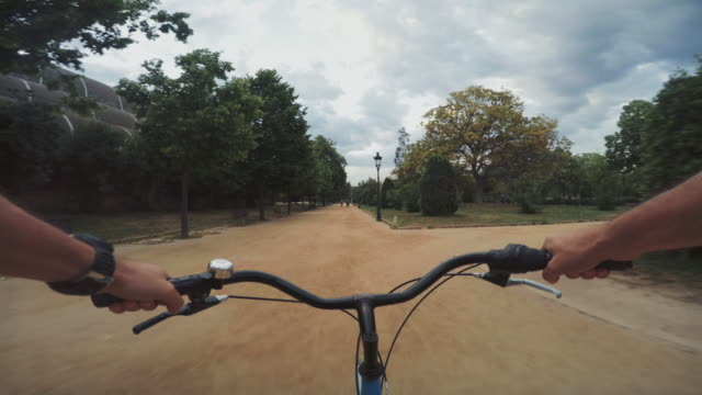 POV bicycle riding in Barcelona, Spain video