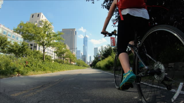 POV bicycle riding: woman with road bike in New York
